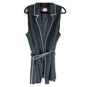 Who What Wear Black Belted Vest S: 2X